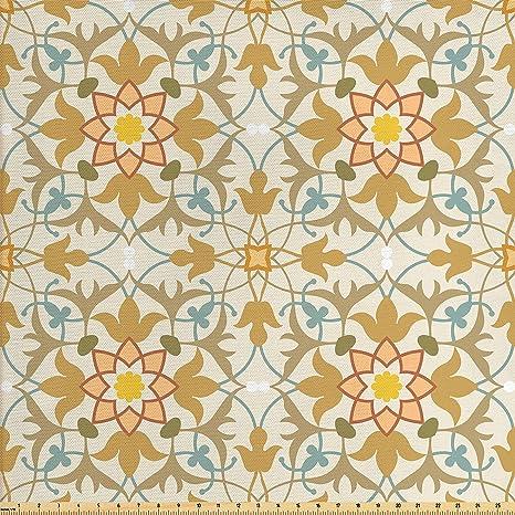 Amazon Com Lunarable Oriental Fabric By The Yard Art Nouveau