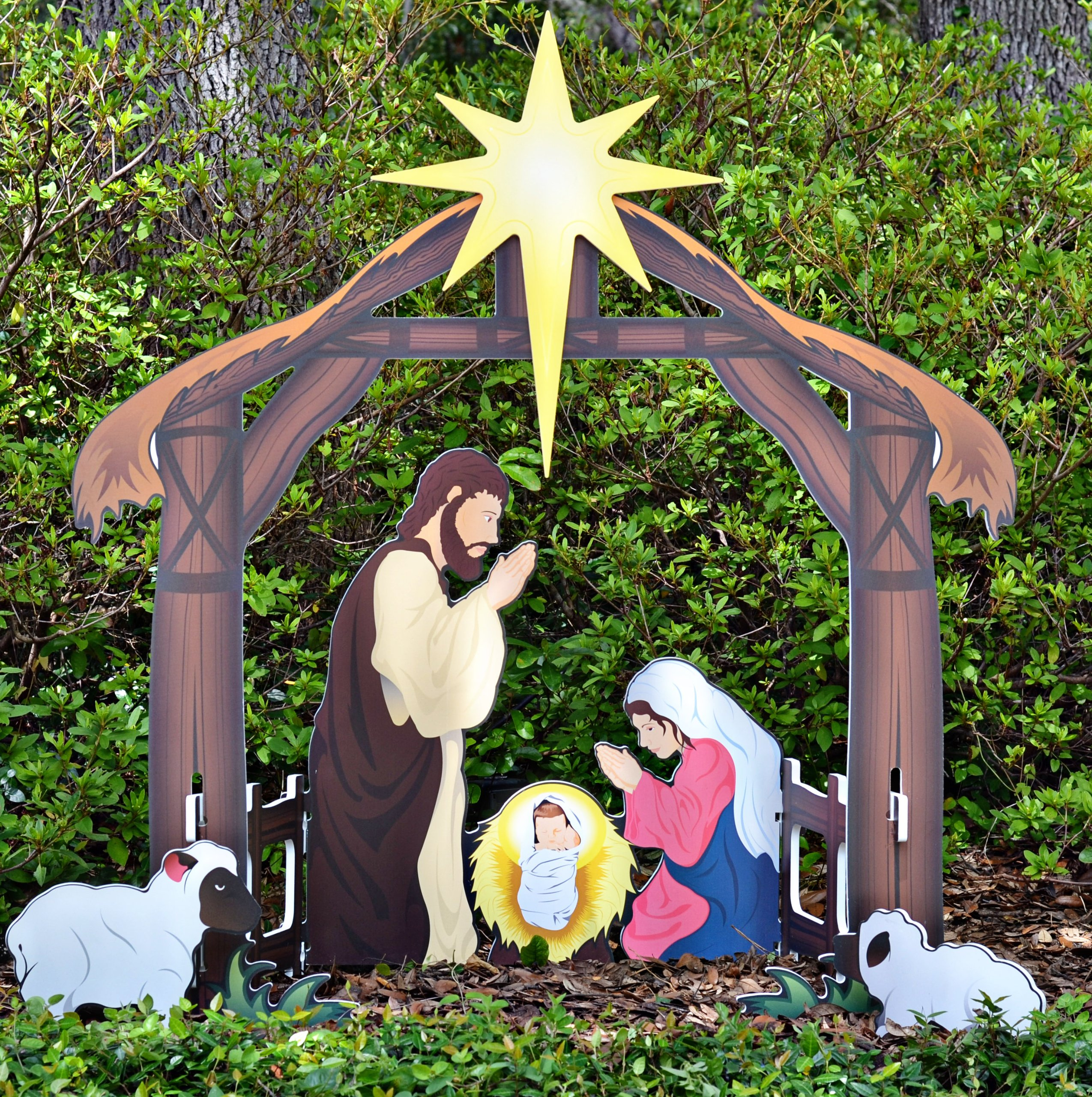Teak Isle Holy Night Printed Outdoor Nativity Set by Teak Isle