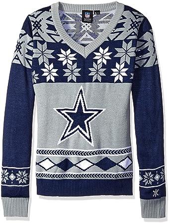 the best attitude aed25 90022 Dallas Cowboys NFL Women's Big Logo V-Neck Ugly Christmas ...