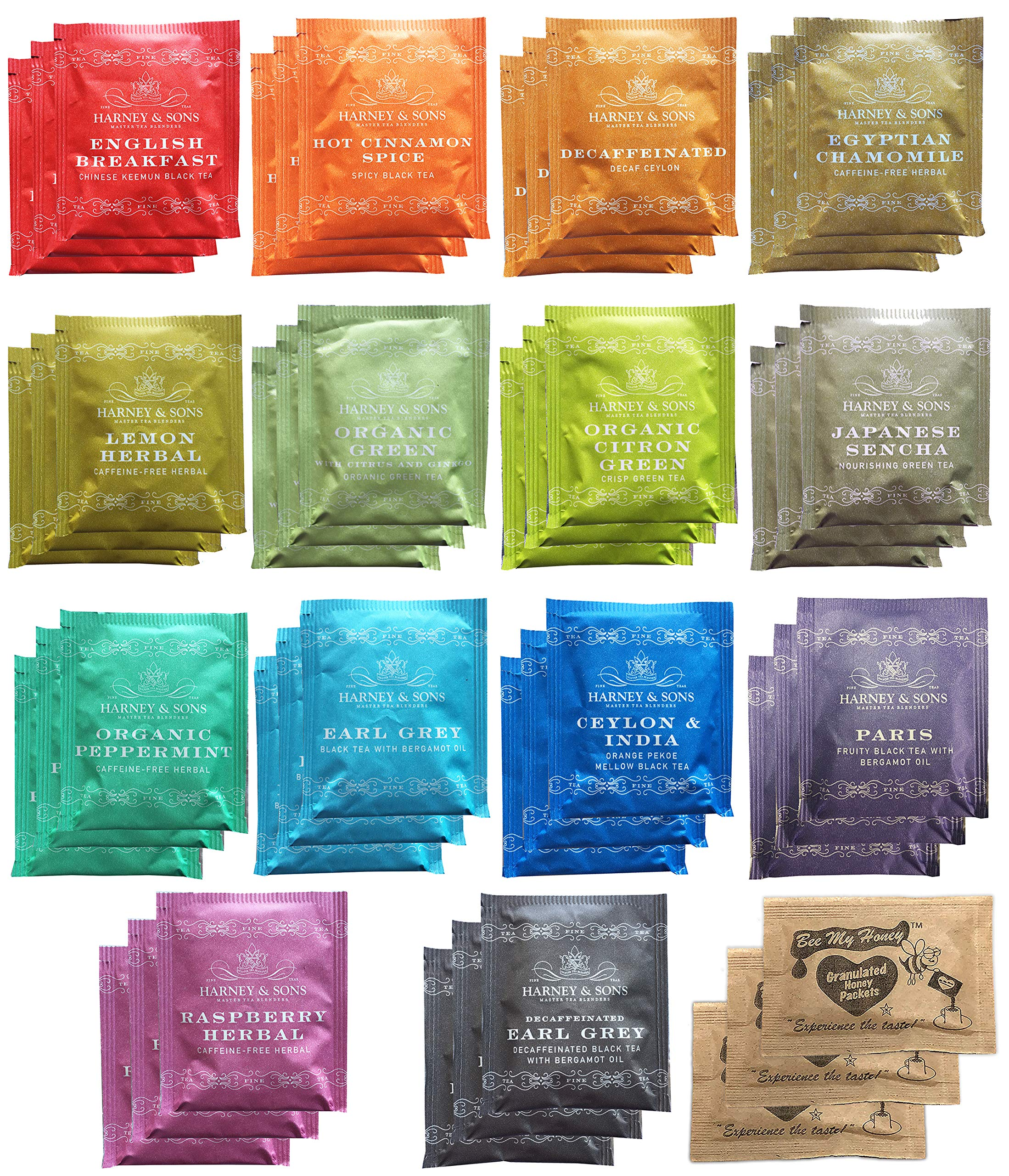 Harney & Sons Assorted Tea Bag Sampler 42 Count With Honey Crystal Packs Great for Birthday, Hostess and Co-worker Gifts by Harney & Sons