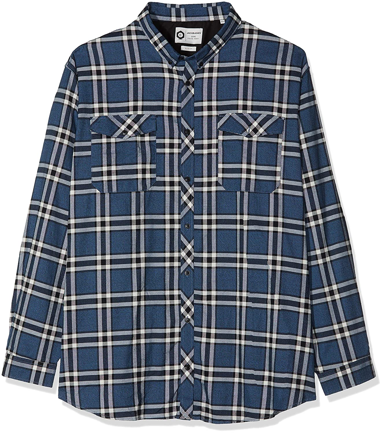 JACK & JONES Jcoel Paso Shirt L/s Worker PS, Camisa para Hombre, (Sky Captain Fit: Big and Tall), XXXX-Large