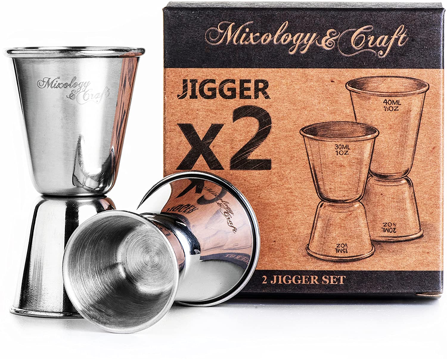 Double Jigger Set by Mixology&Craft - Professional Grade Bar Tool Accessories, Two Stainless Steel Cocktail Jiggers Holds ½ oz to 1⅓ oz - Measure Liquor with Confidence Like a Professional Bartender