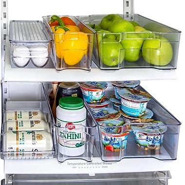 Refrigerator Organizer set of 6 Storage Bins, Including Drink Holder and Egg Holding Tray, by Kitchen Shaq