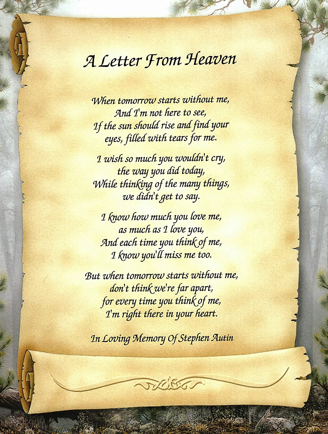 Amazon.com: Personalized Bereavement Poetry Gift \