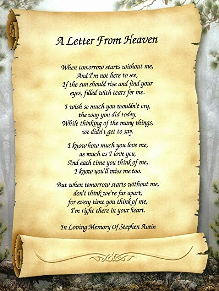 Amazon Personalized Bereavement Poetry Gift