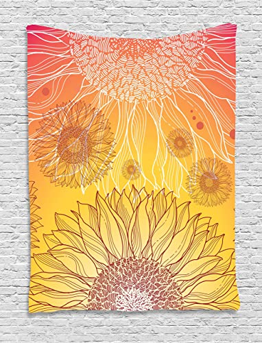 Ambesonne Botanical Tapestry, Sunflowers in Warm Colors Doodle Agriculture Design Blooming Plants, Wall Hanging for Bedroom Living Room Dorm, 60 X 80 , Burgundy Orange