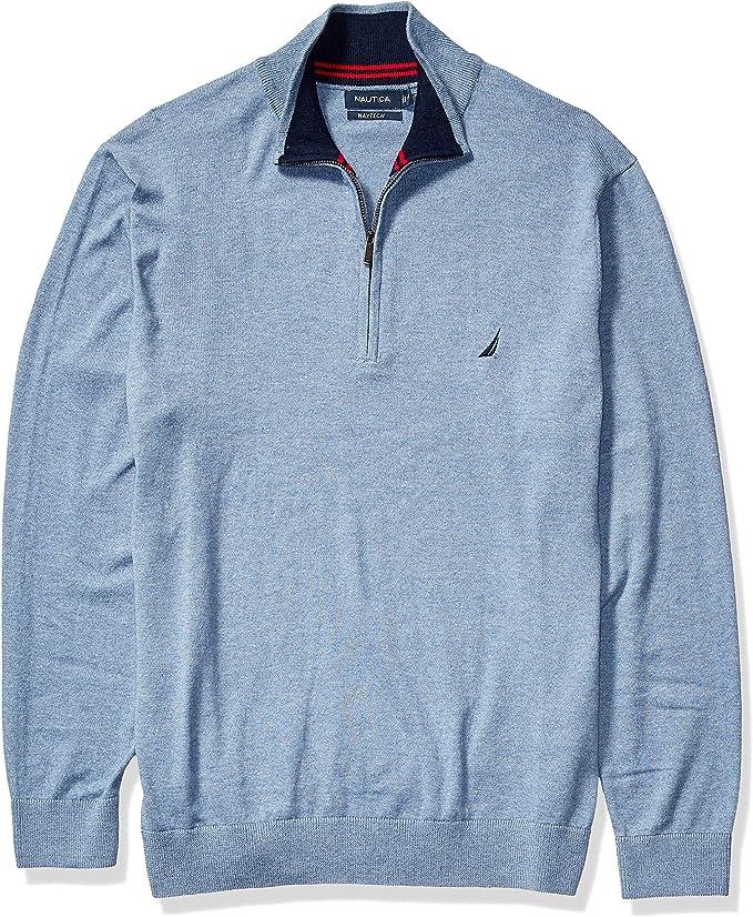 Nautica Mens Big and Tall 1//4 Zip Cotton Fleece Mockneck Pullover     3XL 4XL