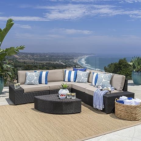 Reddington Outdoor Patio Furniture 6 Piece Sectional Sofa Set With Cushions