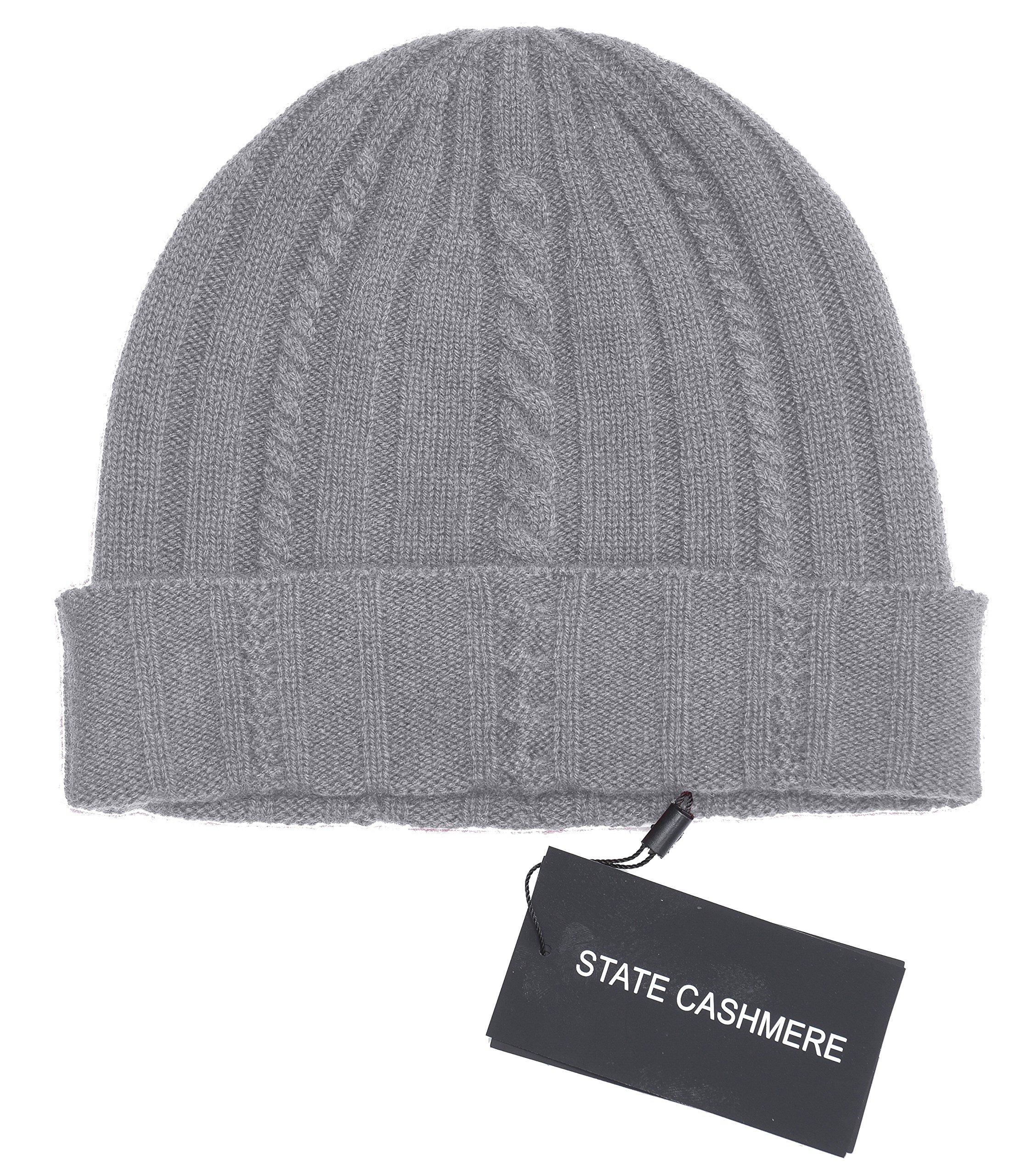 State Cashmere 100% Pure Cashmere Cable Knit Beanie Hat - Ultimate Soft,Warm and Cozy