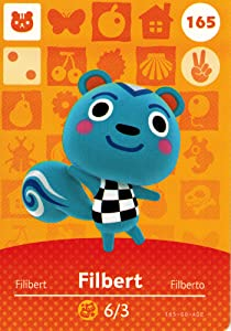 Nintendo Animal Crossing Happy Home Designer Amiibo Card Filbert 165/200 USA Version
