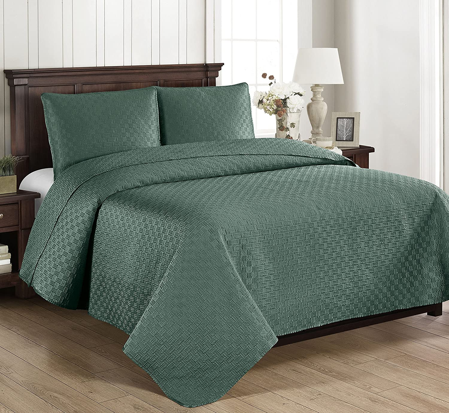 Brielle Basket Weave Quilt Set, Twin, Grey 807000224340