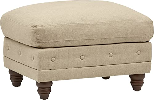 Amazon Brand Stone Beam Bradbury Chesterfield Modern Tufted Ottoman, 30.3 W, Hemp