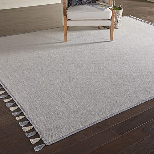 Stone Beam Contemporary Bordered Area Rug, 10 6 x 8 , Fringed, Light Grey