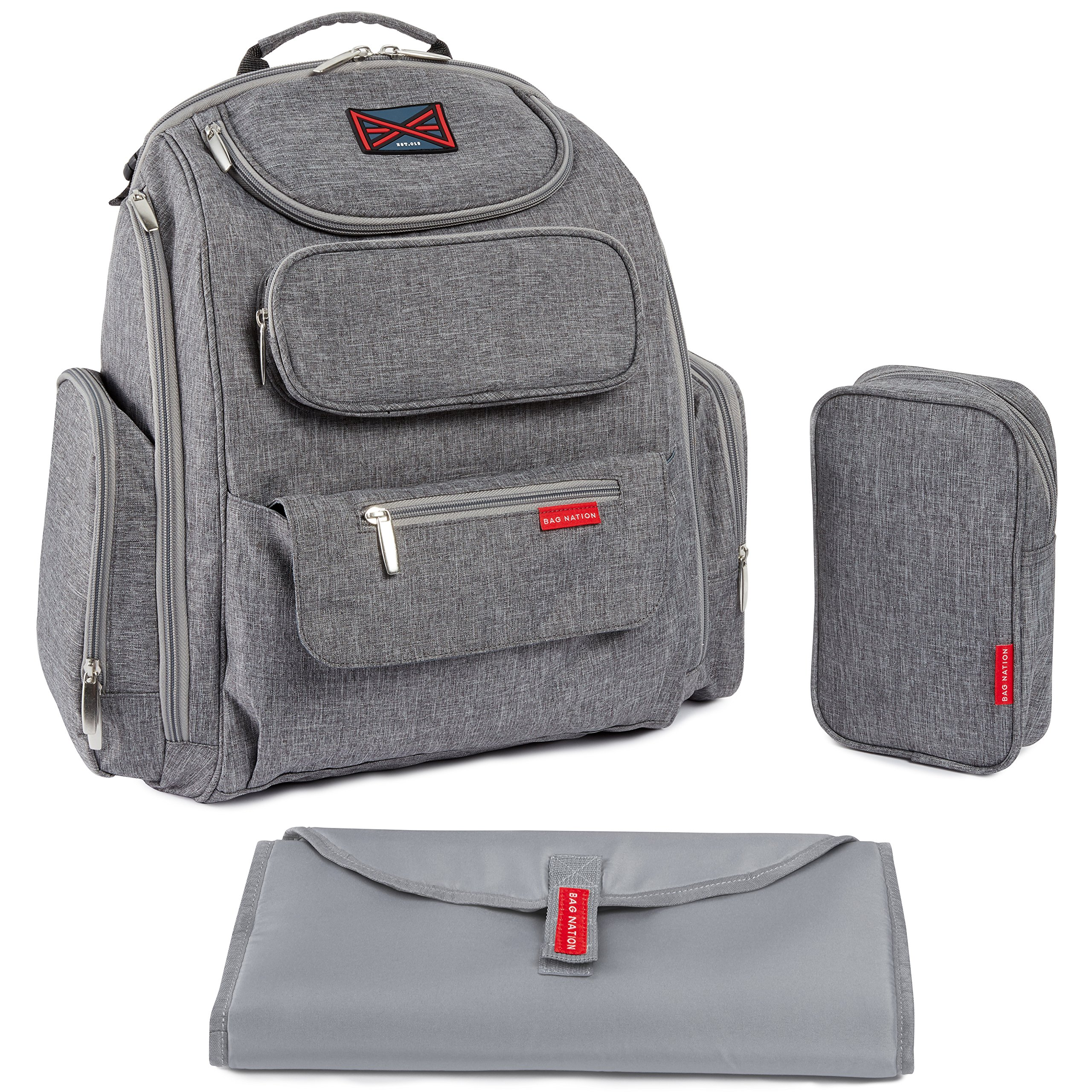 Bag Nation Diaper Bag Backpack with Stroller Straps, Changing Pad and Sundry Bag - Grey by Bag Nation
