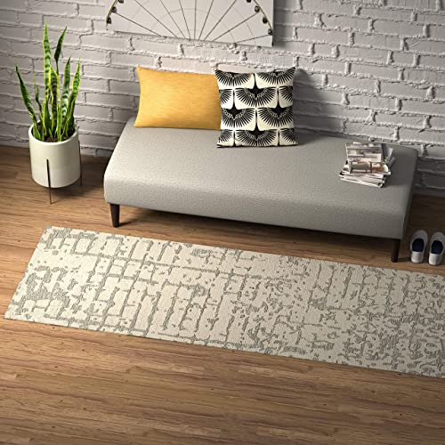 Rivet Contemporary Linear Distressed Wool Runner Rug, 2 6 x 8 , Grey