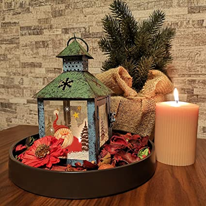 Christmas Lantern.Christmas Candle Lantern Decoration Santa Decorative Candle Holder Rustic Green Hand Painted Metal And Glass Table Centerpiece Or Hanging