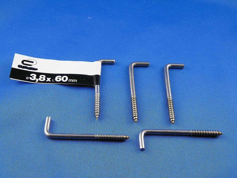 5 Crochets /à visser droites 3,8 x 60 mm avec crochets angle droit galvanis/é avec filetage pour bois