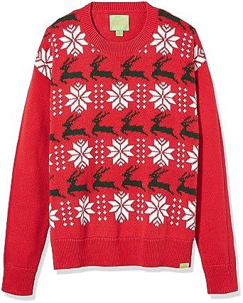 Amazon.com: Ugly Fair Isle Unisex Jacquard Reindeer Crewneck ...
