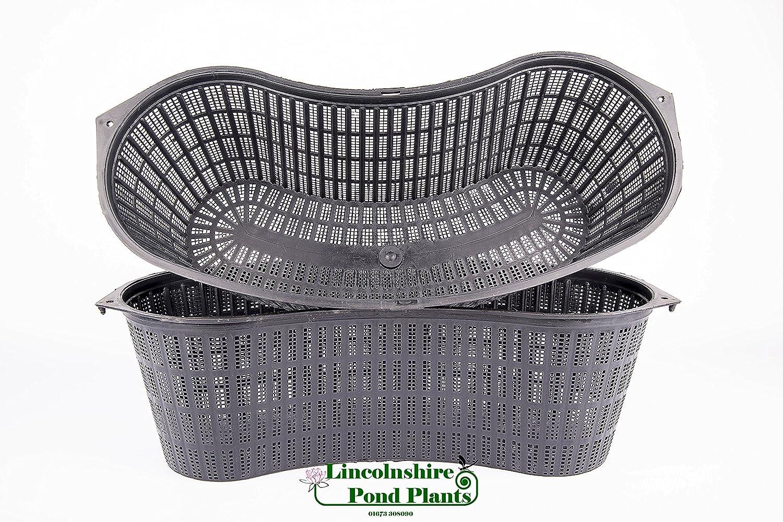 2 Large new kidney shaped plastic aquatic pond pots baskets for water plants Lincolnshire Pond Plants Ltd