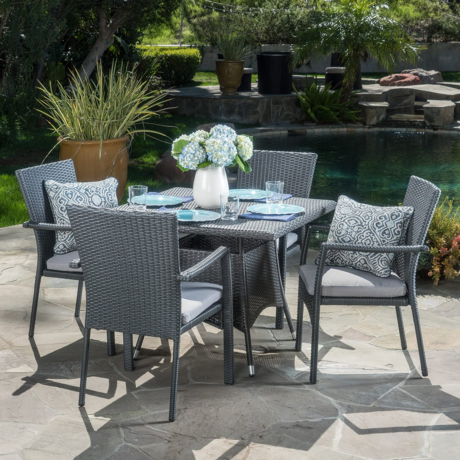 Amazon com cabela 5 piece wicker outdoor dining set with cushions perfect for patio in grey garden outdoor