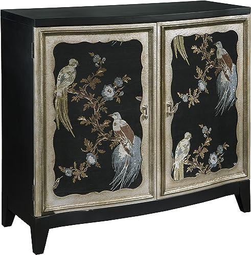 Pulaski Old World Fabric Sewn Charlotte Bird Motif Accent Wine Cabinet, 40.3 x 16.5 x 38.3