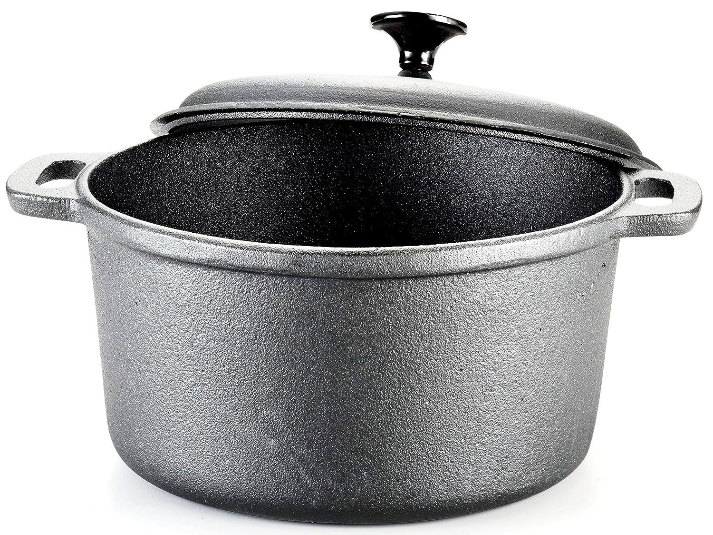 T-fal E83452 Pre-Seasoned Cast Iron Dutch Oven Cookware, 6-Quart, Black