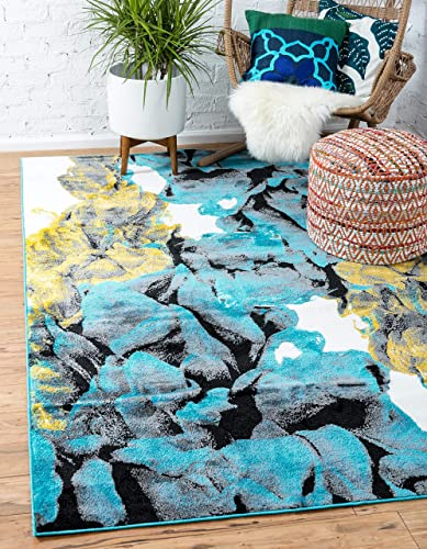 Unique Loom Metro Collection Abstract Botanical Modern Nautical Turquoise Area Rug 5 0 x 8 0