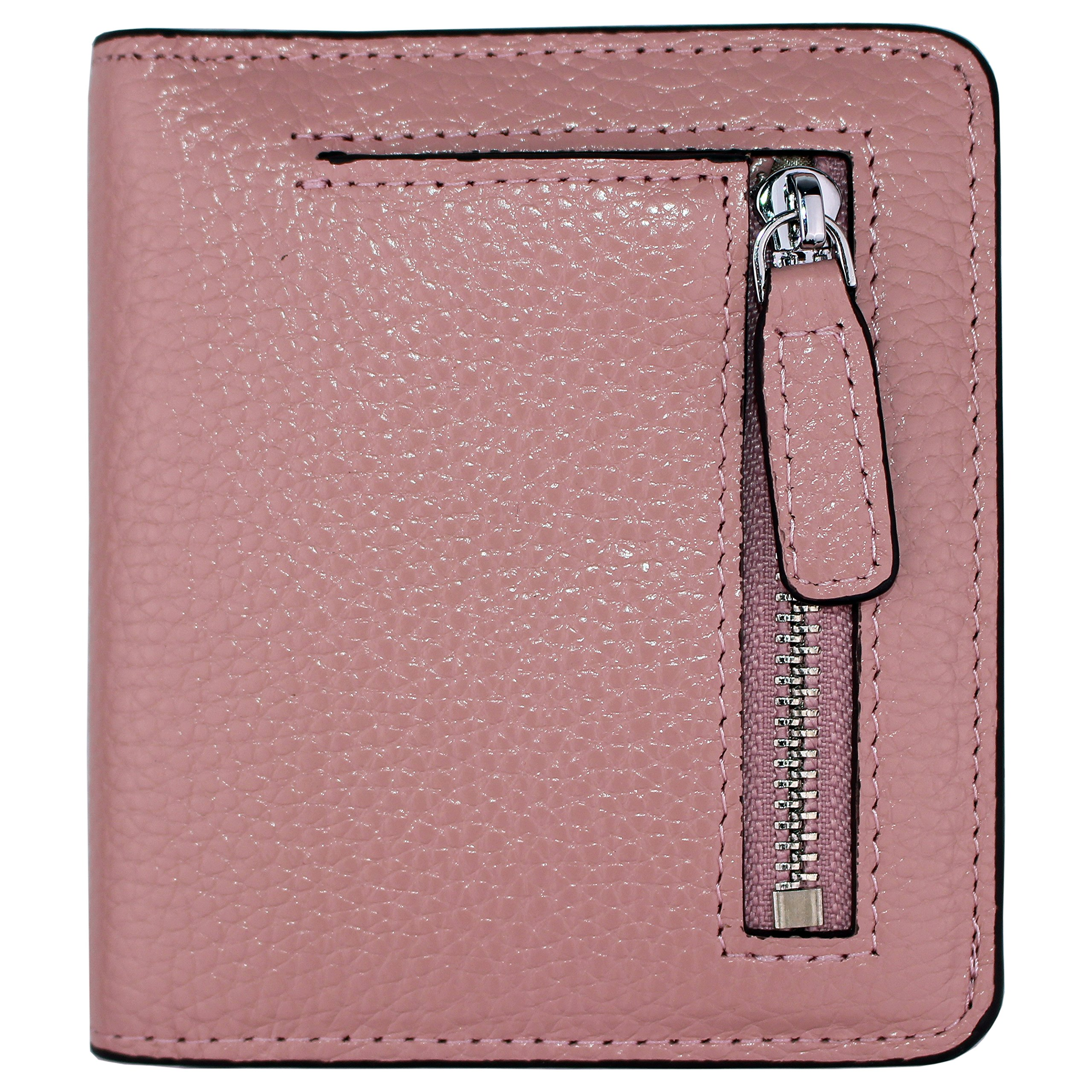 Women's RFID Blocking Small Genuine Leather Wallet Ladies Mini Card Case Purse (Pink)