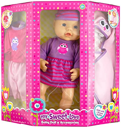 amazon com my sweet love baby doll and accessories with two bonus