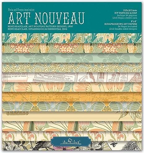 Scrapbook Art Nouveau - Pad 8-203mm // Kit Papeles para Scrapbooking: Amazon.es: Hogar