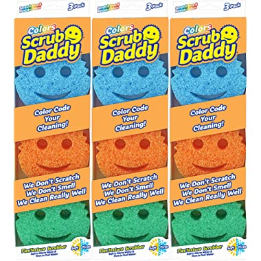 Scrub Daddy - Original Temperature Controlled Colored Scrubber - Scratch Free & Odor Resistant - 9 Count