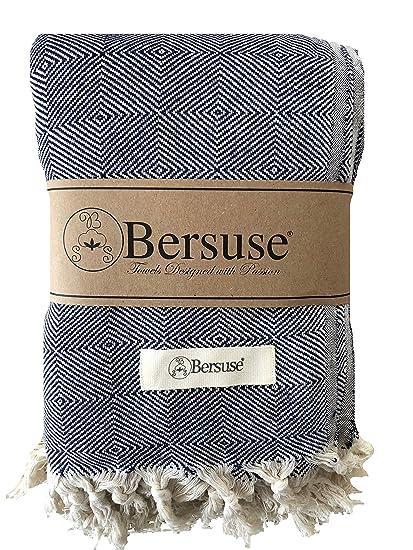 Bersuse - Manta de Algodón 100%, Extra Grande (XL) Milas, Toalla