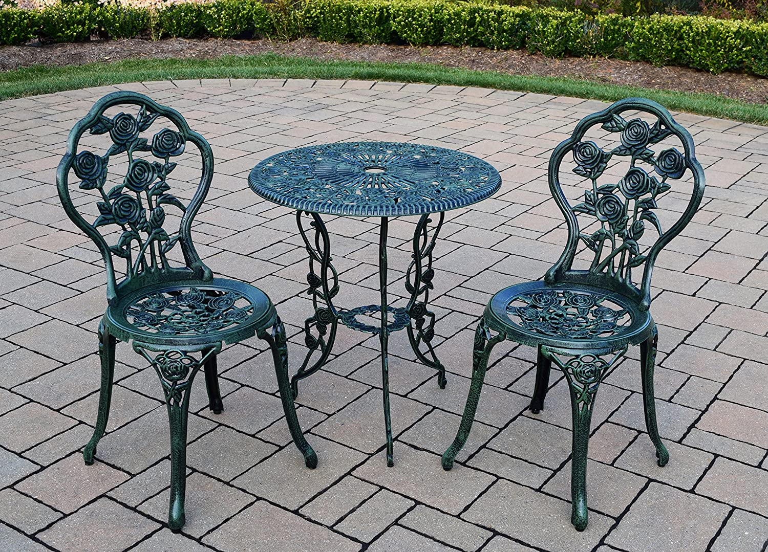 Vintage cafe table and chairs - Amazon Com Rose 3 Piece Bistro Patio Set Verdi Green Aluminum Top Table Garden Outdoor