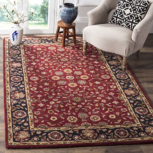 Safavieh Heritage Collection HG966A Handcrafted Traditional Oriental Red and Navy Wool Area Rug 11' x 15'