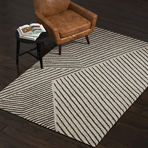 Rivet Wool Running Rug, 2 6 x 8 , Grey, Charcoal
