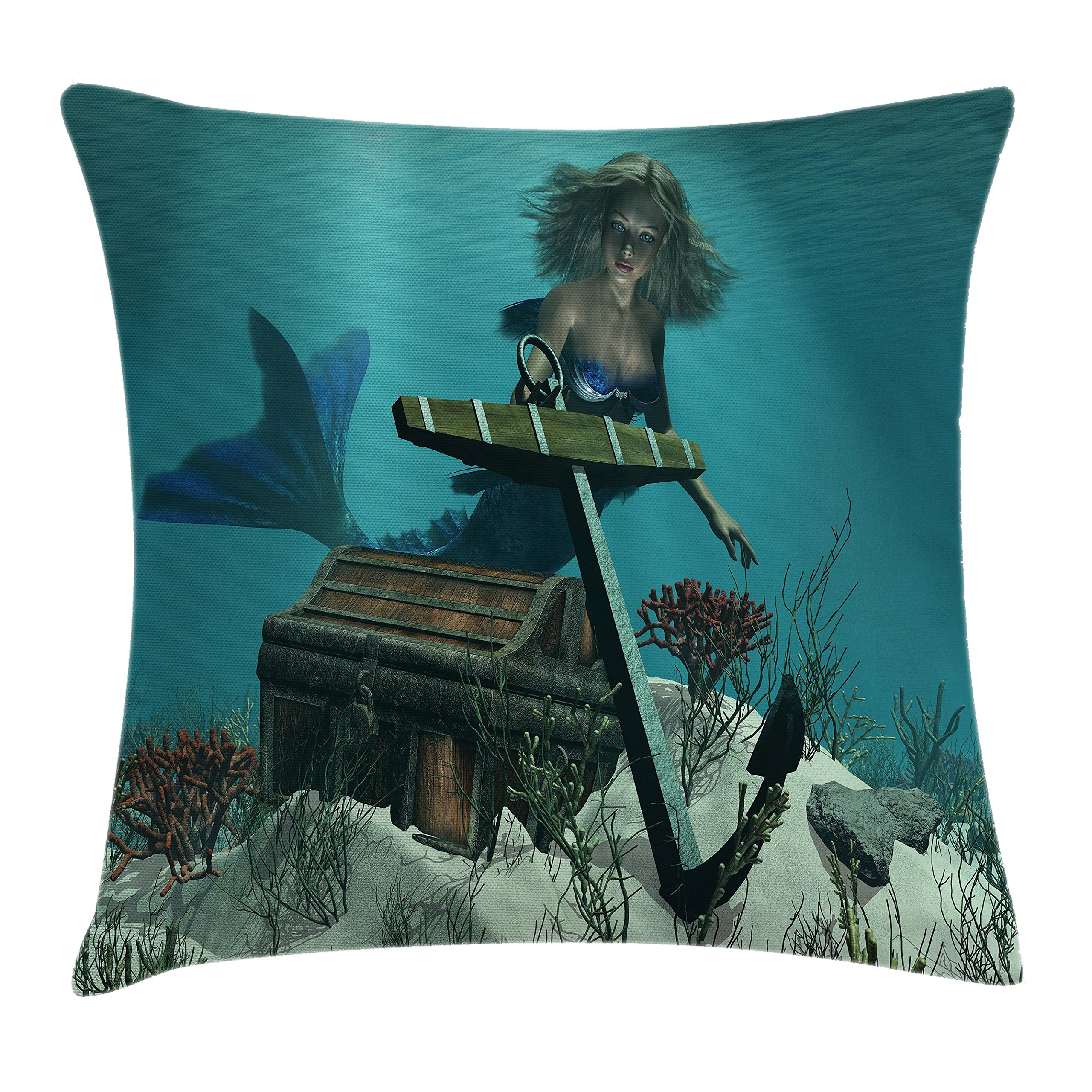 Ambesonne Kids Throw Pillow Cushion Cover, A Mermaid in Ocean Sea Discovering Pirate's Treasure Chest Mythical Art Print, Decorative Square Accent Pillow Case, 16 X 16 inches, Azure Brown Cream
