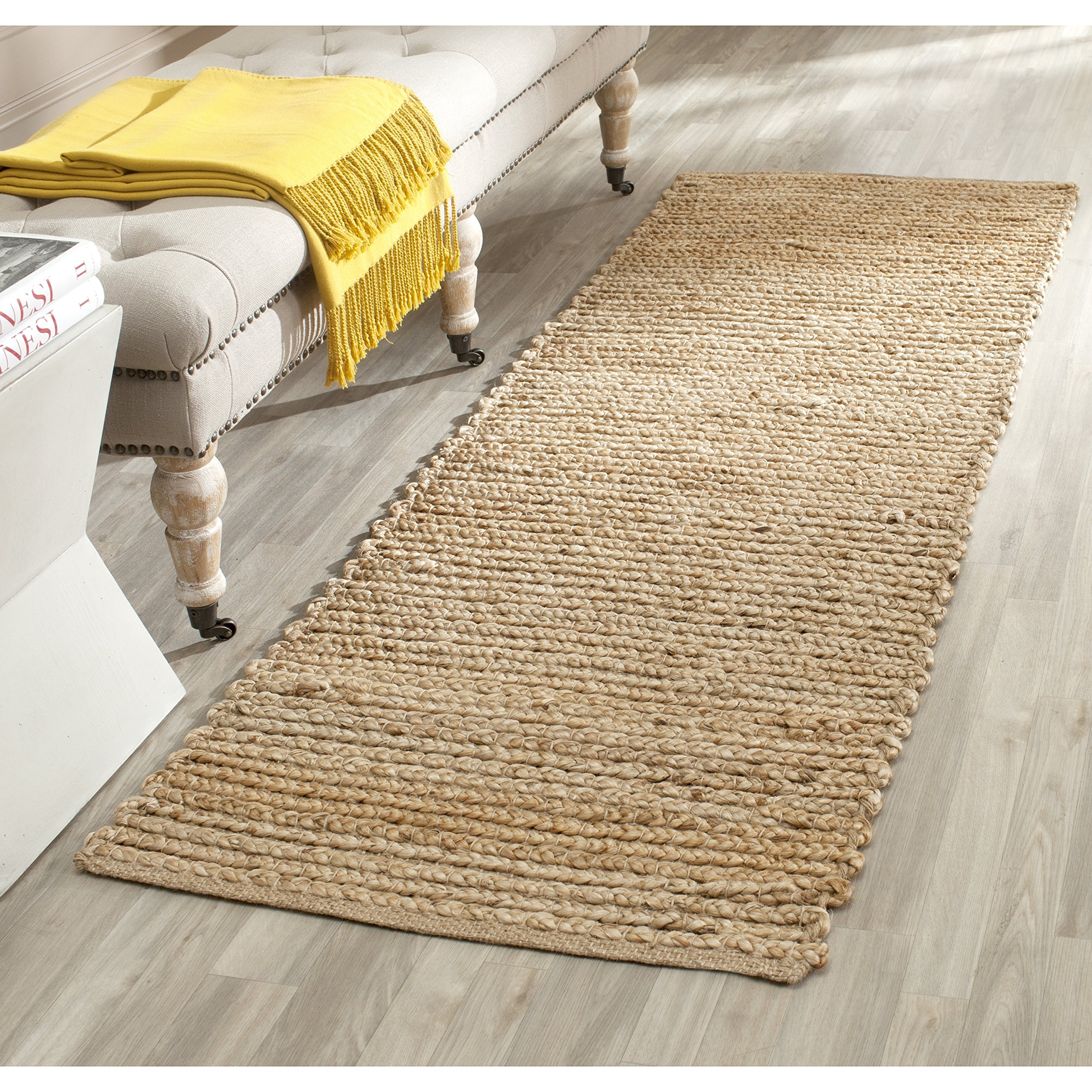 Safavieh Cape Cod Collection CAP355A Hand Woven Flatweave Natural Jute Runner (2'3'' x 6')