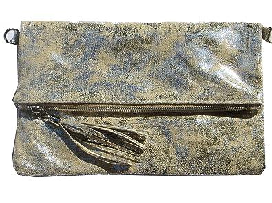 86dedf12d69f4 Trendstyle Clutch kleine Tasche Vintage Gold Beige Bommel Echtleder Elegant