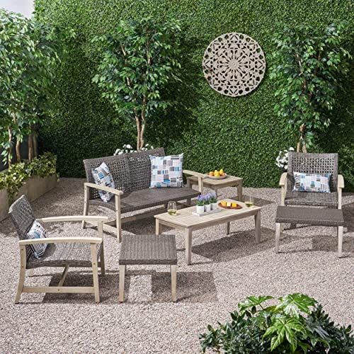 Great Deal Furniture Savannah Outdoor 7 Piece Wood and Wicker Chat Set