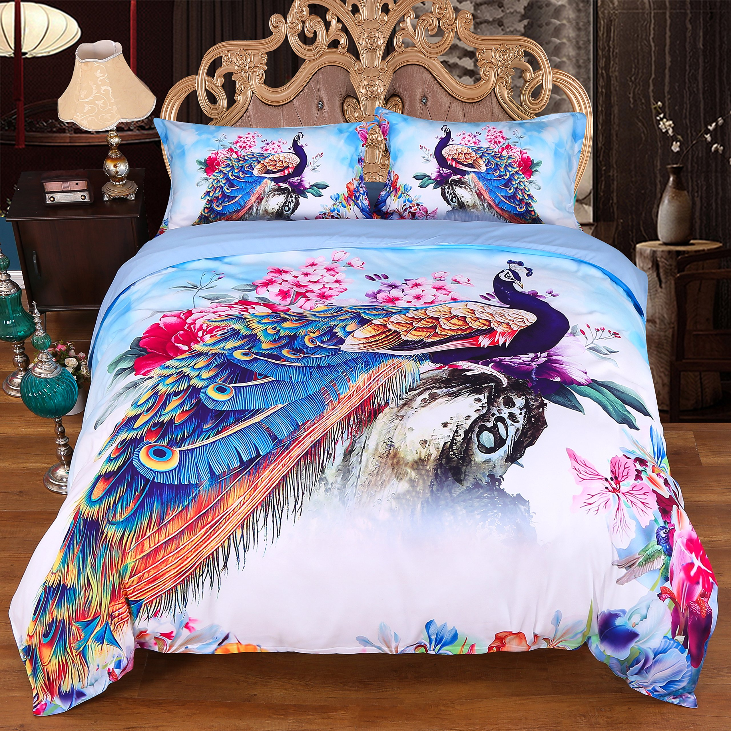 Encoft 3D Peacock Bedding Luxury Beautiful Peacock and Peony Watercolor Printed 4-Piece Duvet Cover Set, Full Size Peacock Sheets Set, No Comforters (Full, Multi)
