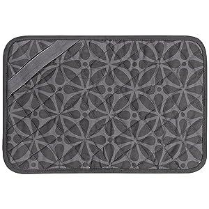 "Envision Home 596901 Heat-Resistant Printed Trivet Mat -11"" x 17"", Grey Print"