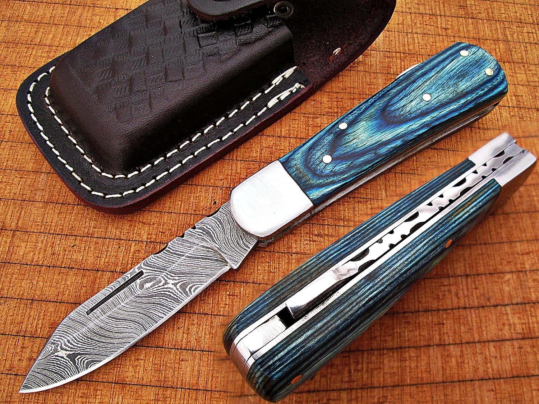 Custom Made Damaskus 16,3cm Awesome zusammenklappbar Taschenmesser mit Blau Farbe exotic Holz Griff Klinge unter 7,6cm (bdm-697)