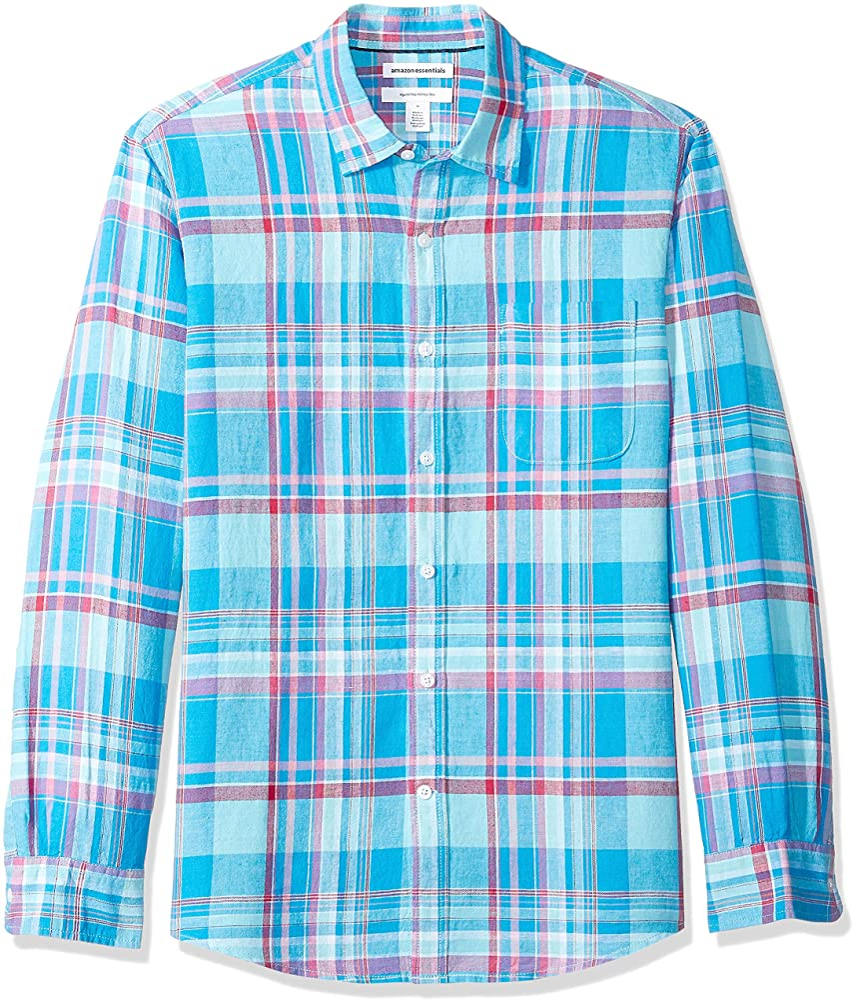 Amazon Essentials - Camisa regular de lino a cuadros con manga larga para hombre, Aguamarina Cuadros, US XS (EU XS): Amazon.es: Ropa y accesorios