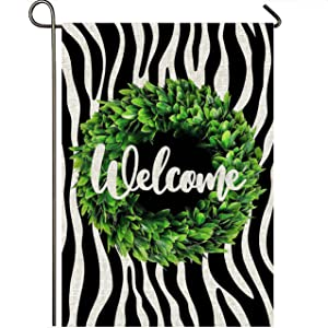 Mogarden Welcome Garden Flag, Double Sided 12.5 x 18 Inches, Boxwood Wreath Black-White Zebra Design, Weatherproof Burlap Small Winter Yard Flag