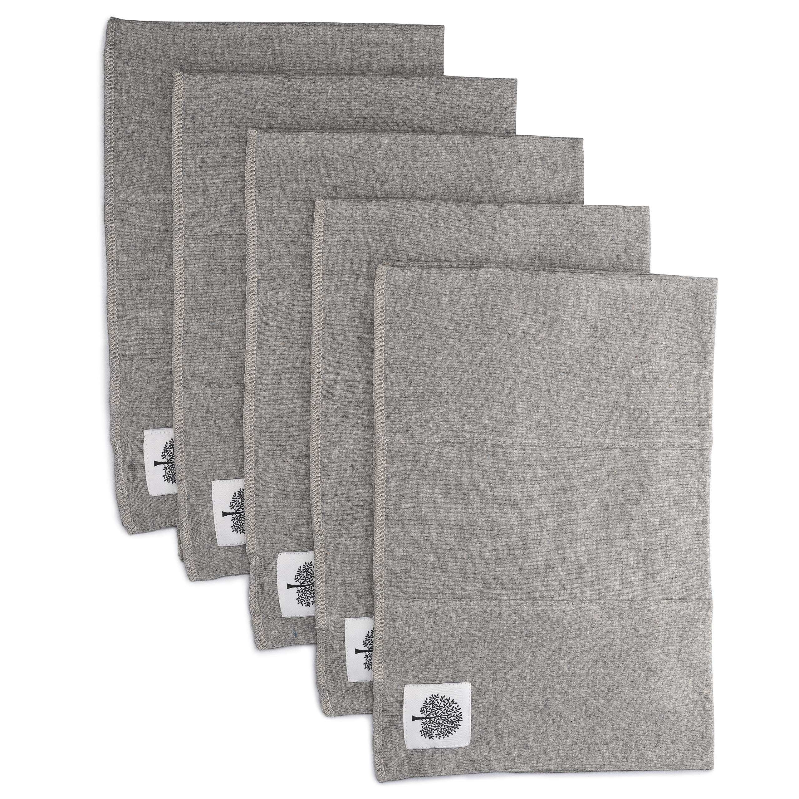 Parker Baby Organic Burp Cloths - 5 Pack Large Cotton Burp Clothes for Boys, Girls, Unisex - Heathered Gray by Parker Baby Co.