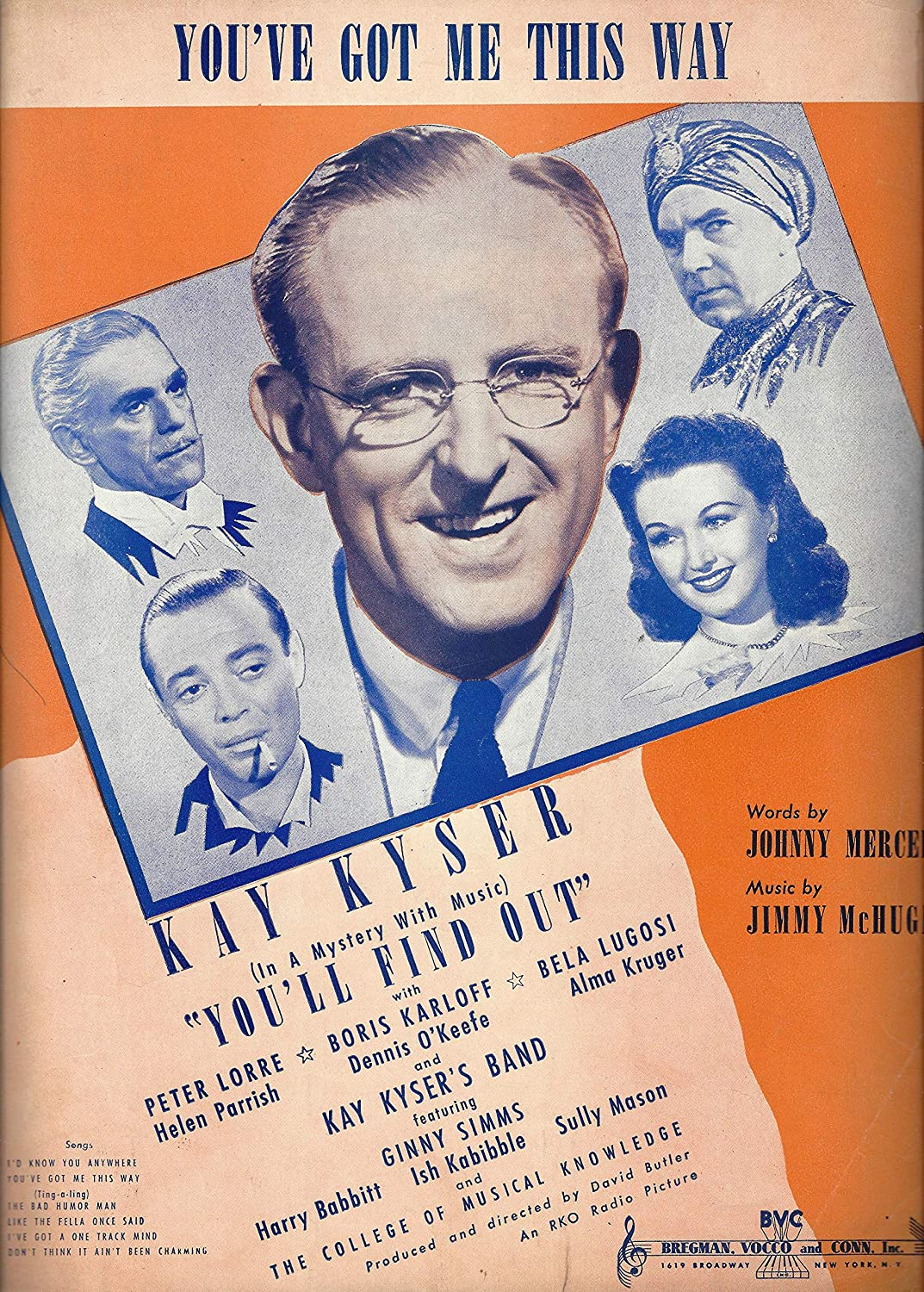 Kay Kyser'YOU'LL FIND OUT' Bela Lugosi/Boris Karloff/Johnny Mercer 1940 Movie Musical Sheet Music