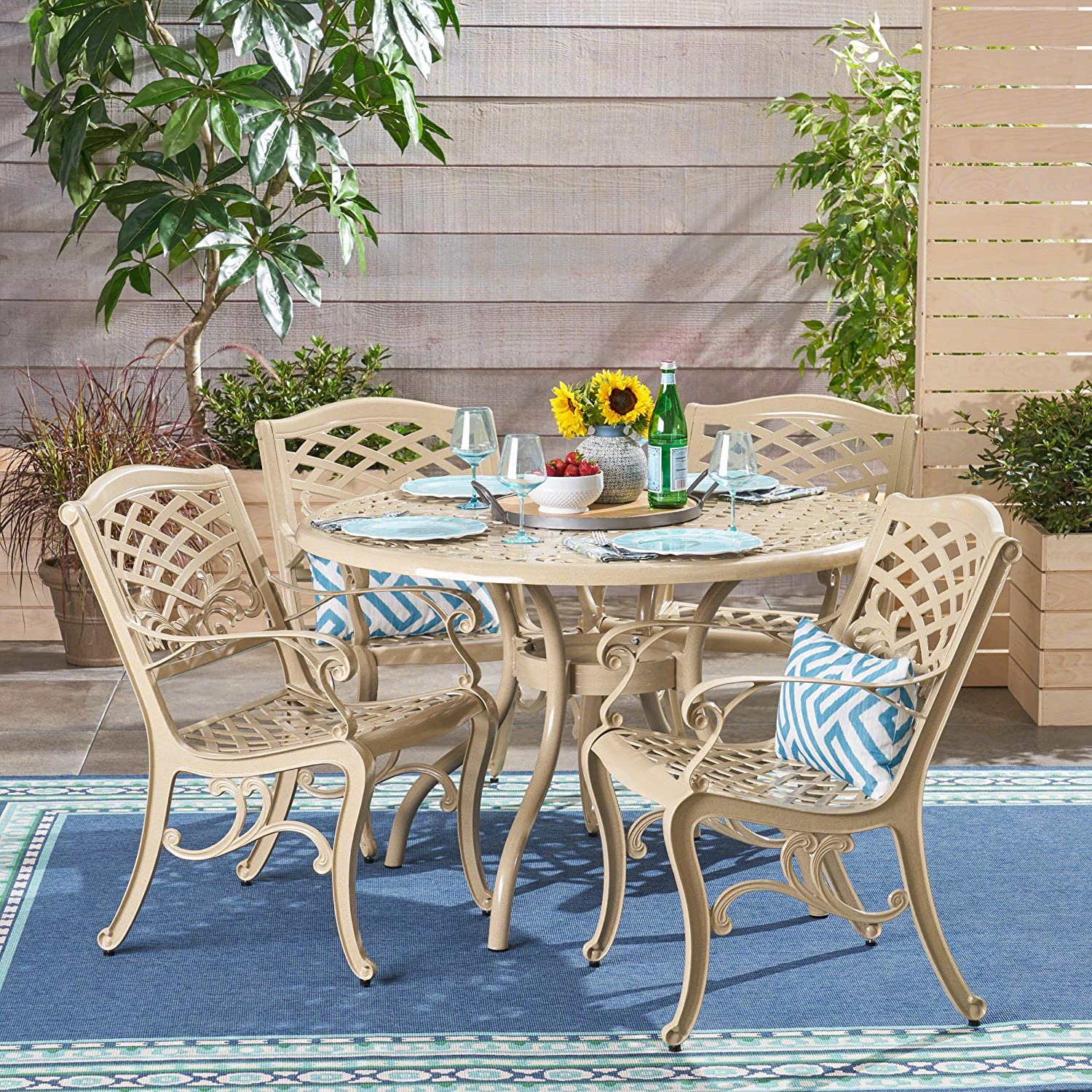 Christopher Knight Home 305695 Vlada Outdoor 5 Piece Cast Aluminum Round Dining Set, Sand