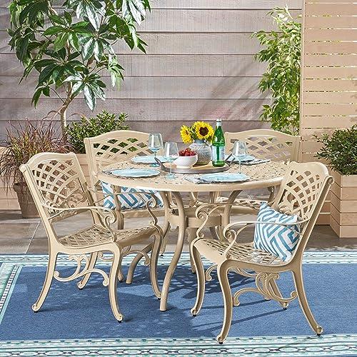 Christopher Knight Home 305695 Vlada Outdoor 5 Piece Cast Aluminum Round Dining Set, Sand
