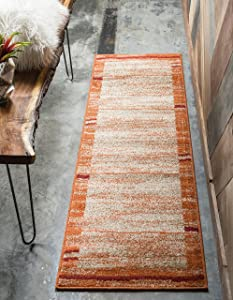 Unique Loom Autumn Collection Rustic Casual Warm Toned Border Terracotta Runner Rug (2' 0 x 6' 0)