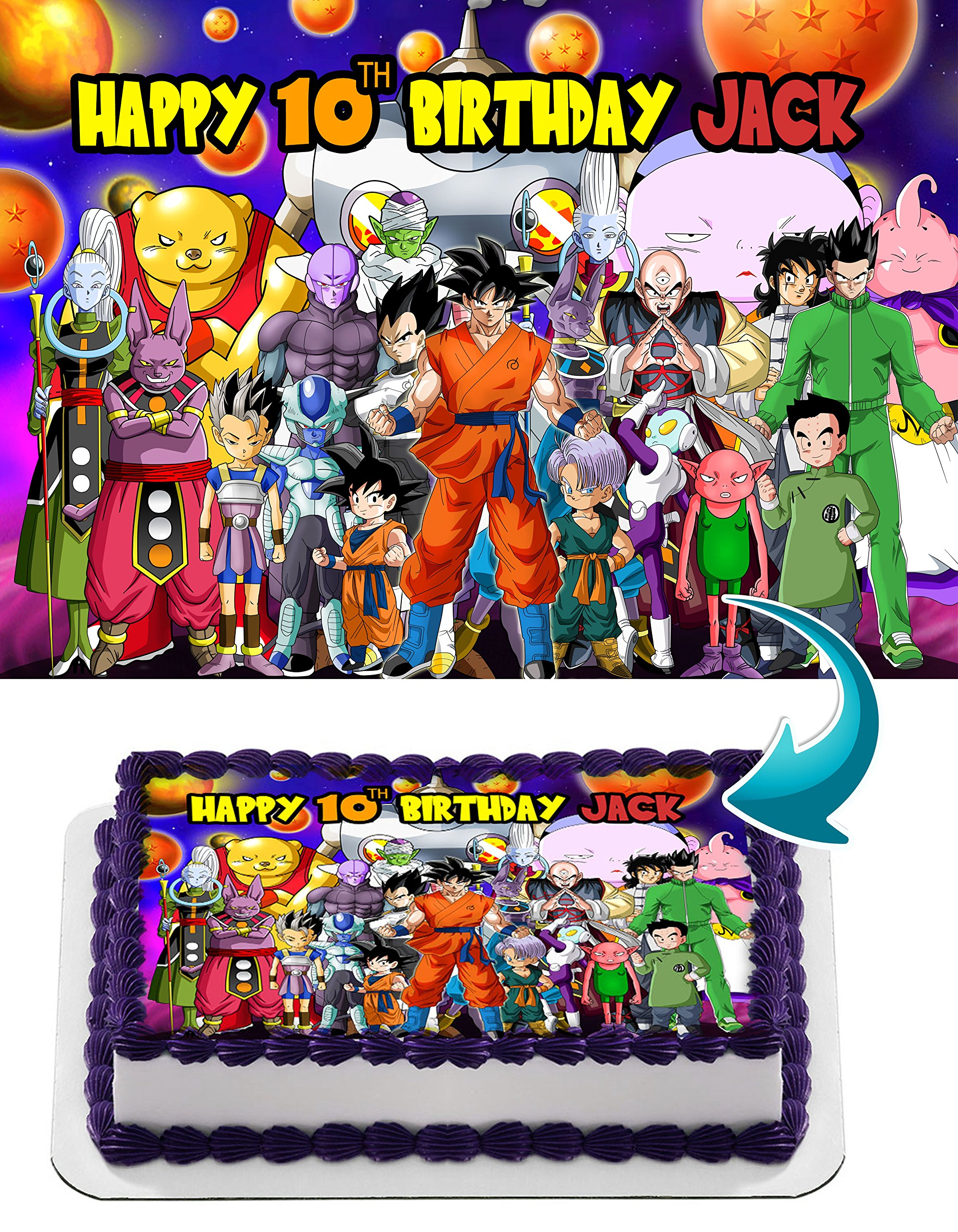 Dragon Ball Super, Goku, Vegeta, Gohan, Anime, Dragon ball Z Personalized Cake Toppers Icing Sugar Paper A4 Sheet Edible Frosting Photo Birthday Cake Topper 1/4 ~ Best Quality!